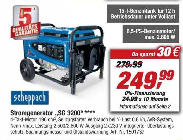 """Toom Baumarkt Scheppach Stromgenerator """"sg 3200"""""""