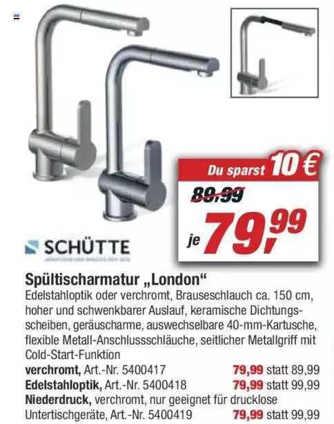"""Toom Baumarkt Schütte Spültischarmatur """"london"""""""