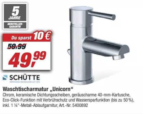 """Toom Baumarkt Schütte Waschtischarmatur """"unicorn"""""""