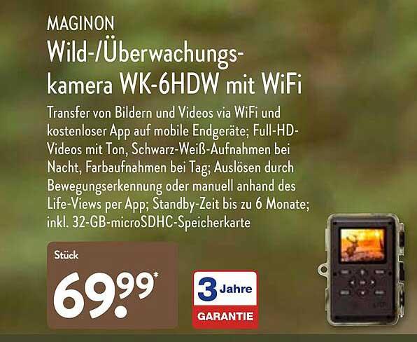 ALDI Nord Maginon Wild- überwachungs Kamera Wk-6hdw Mit Wifi