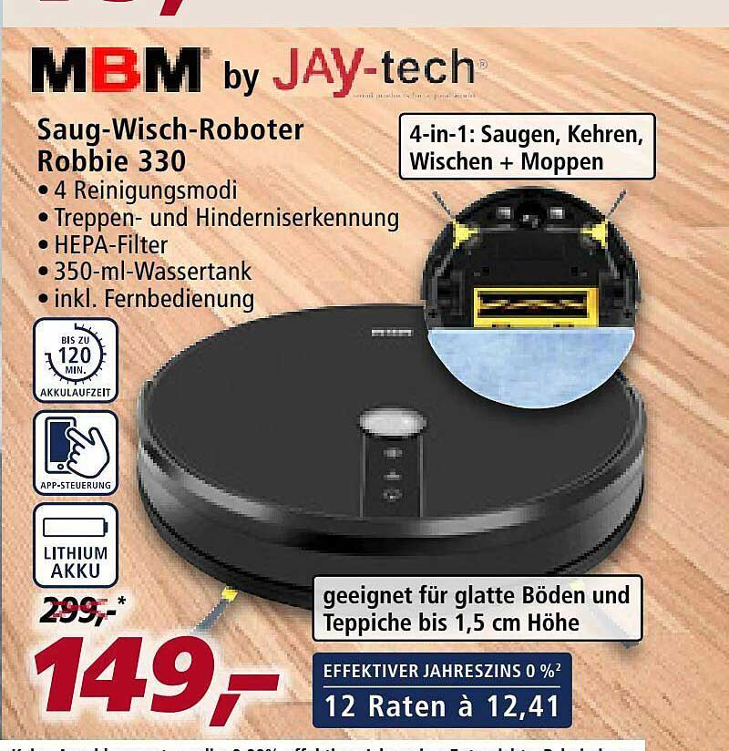 Real Mbm By Jay-tech Saug-wisch-roboter Robbie 330