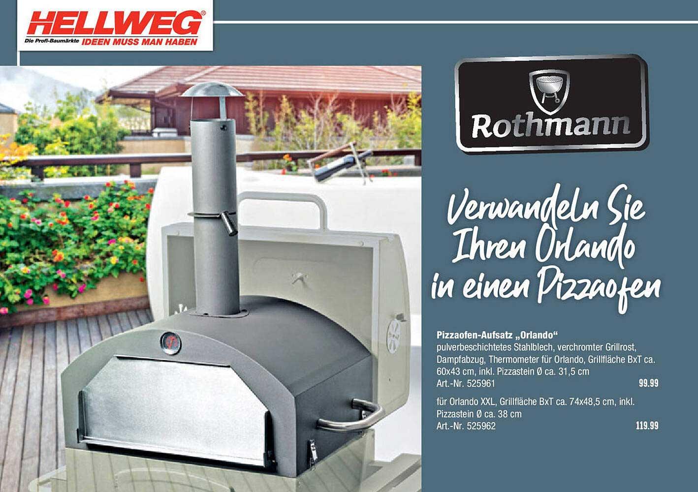 Hellweg Rothmann Pizzaofen Aufsatz Orlando