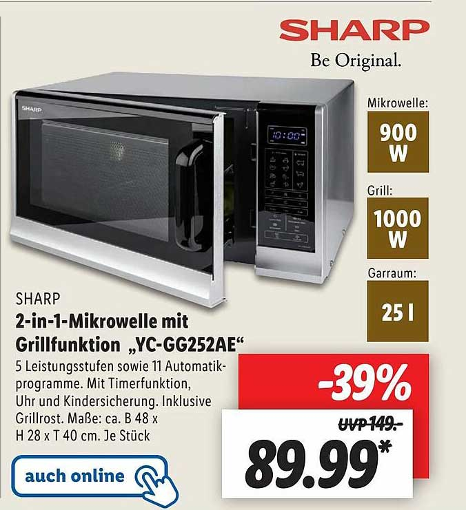"""Lidl Sharp 2-in-1-mikrowelle Mit Grillfunktion """"yc-gg252ae"""""""
