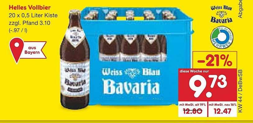 Netto Marken-Discount Weiss Blau Bavaria Helles Vollbier