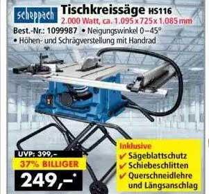 Norma24 Tischkreissäge Hs116 Scheppach