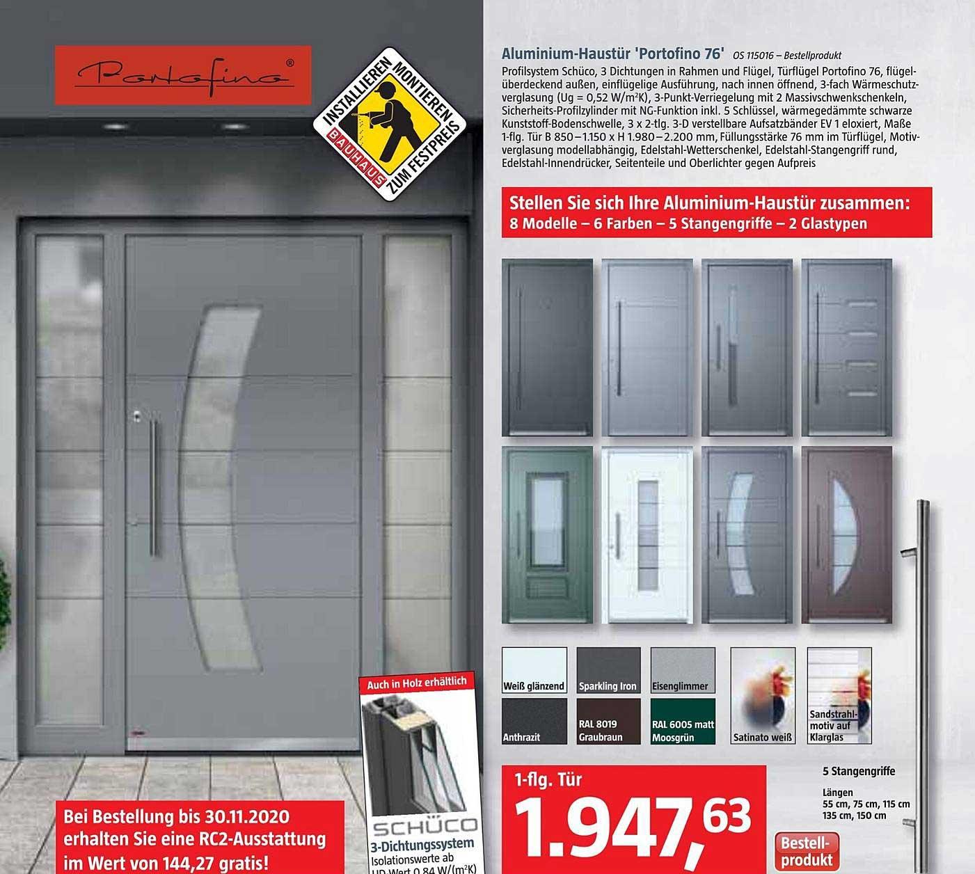 Bauhaus Aluminium Haustür Portofino 76
