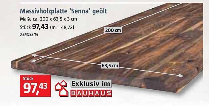 Bauhaus Massivholzplatte Senna Geölt