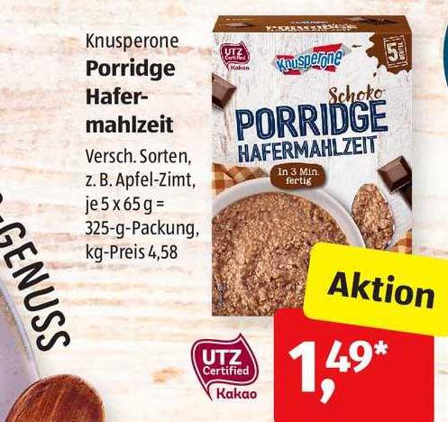ALDI SÜD Porridge Hafermahlzeit Knusperone