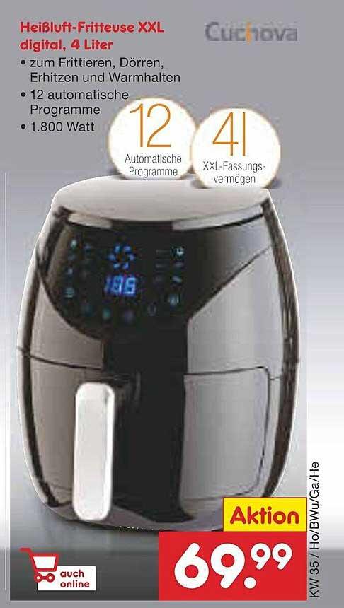 Netto Marken-Discount Heißluft-fritteuse Xxl Digital 4 Liter Cuchova