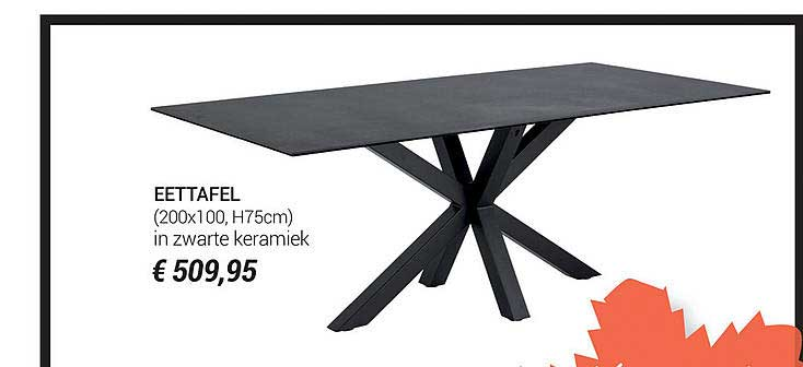 Meubelen Jonckheere Eettafel (200x100,h75cm) In Zwarte Keramiek