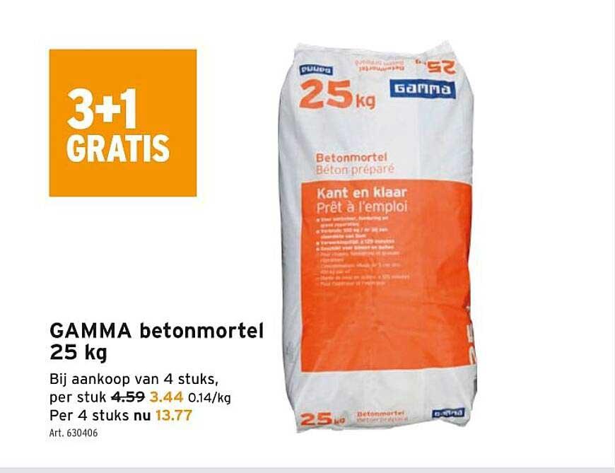 GAMMA 3+1 Gratis Gamma Betonmortel 25 Kg