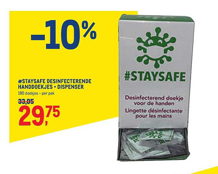 METRO #staysafe Desinfecterende Handdoekjes + Dispenser