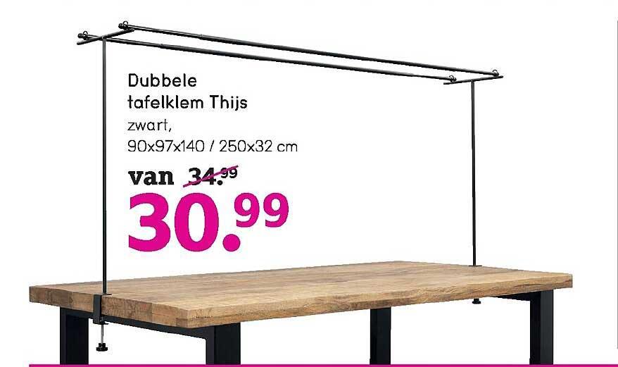 Leen Bakker Dubbele Tafelklem Thijs Zwart 90x97x140 - 250x32 Cm