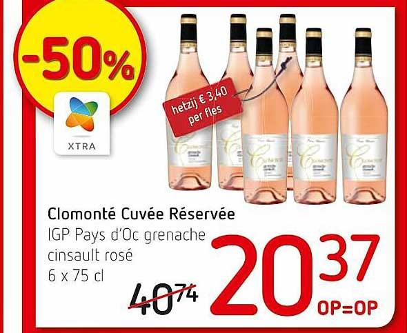 Spar Colruyt Clomonté Cuvée Réservée IGP Pays D'Oc Grenache Cinsault Rosé