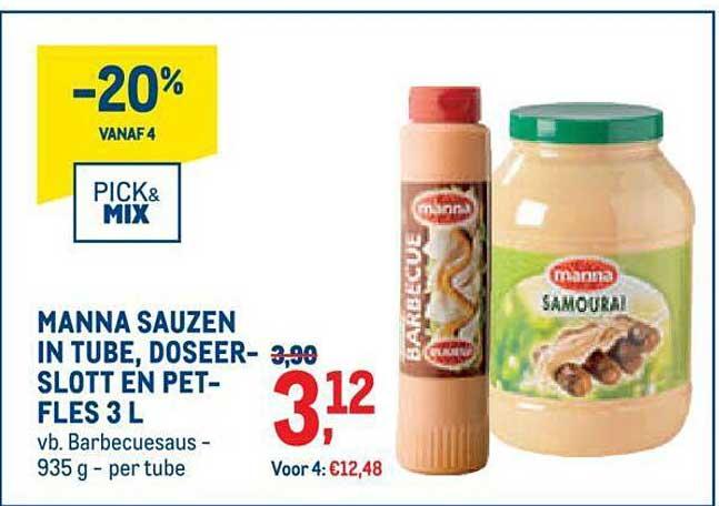METRO Manna Sauzen In Tube, Doseerslott En Pet- Fles 3 L