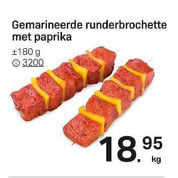 Buurtslagers Gemarineerde Runderbrochette Met Paprika 180 G