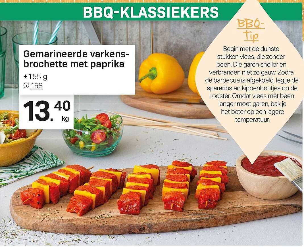 Buurtslagers Gemarineerde Varkens-brochette Met Paprika