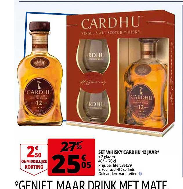 Auchan Set Whisky Cardhu 12 Jaar + 2 Glazen