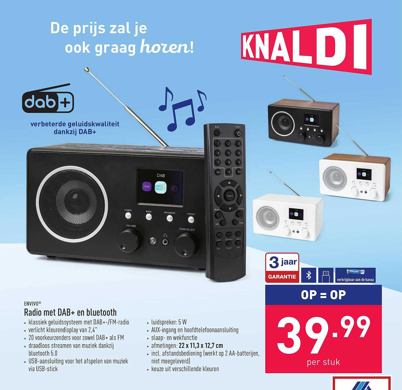 ALDI Envivo Radio Met Dab+ En Bluetooth