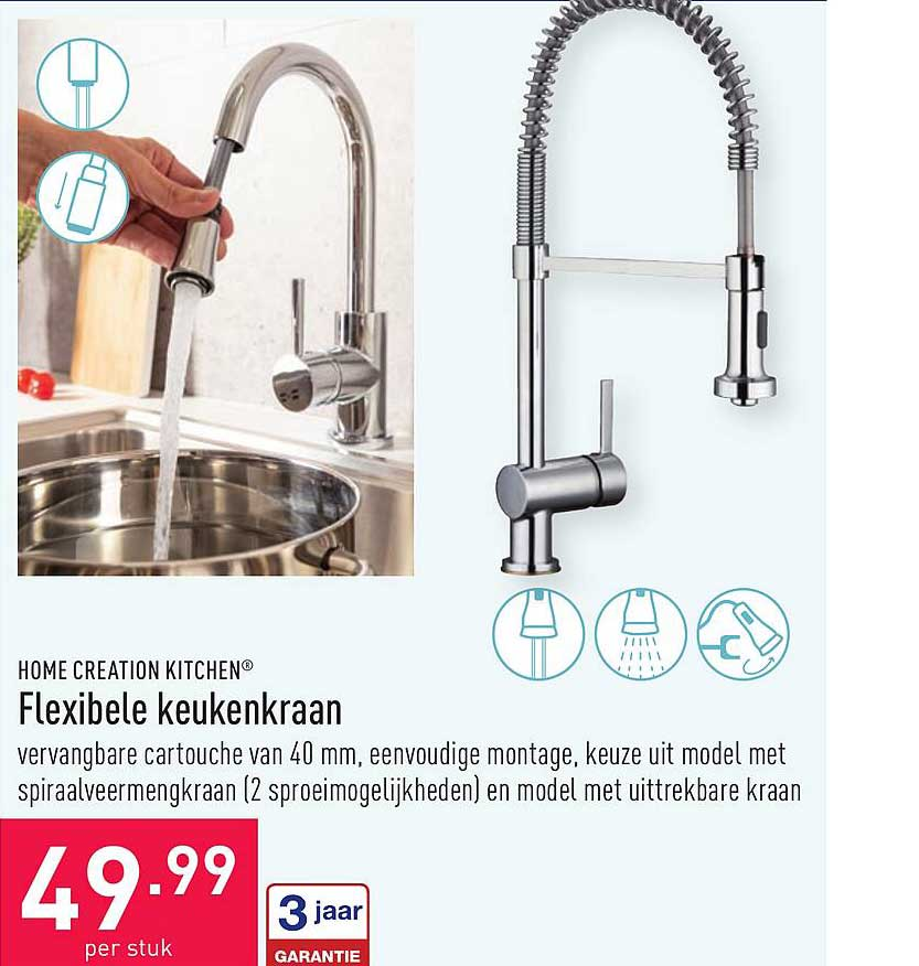 ALDI Home Creation Kitchen Flexibele Keukenkraan