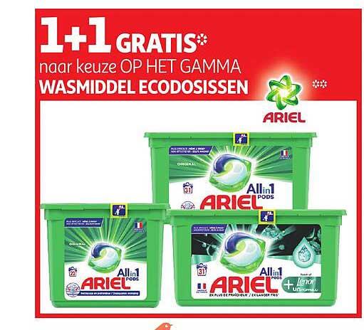 Auchan 1+1 Gratis Naar Keuze Op Het Gamma Wasmiddel Ecodosissen Ariel
