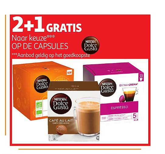 Auchan 2+1 Gratis Op De Capsules Nescafe Dolce Gusto