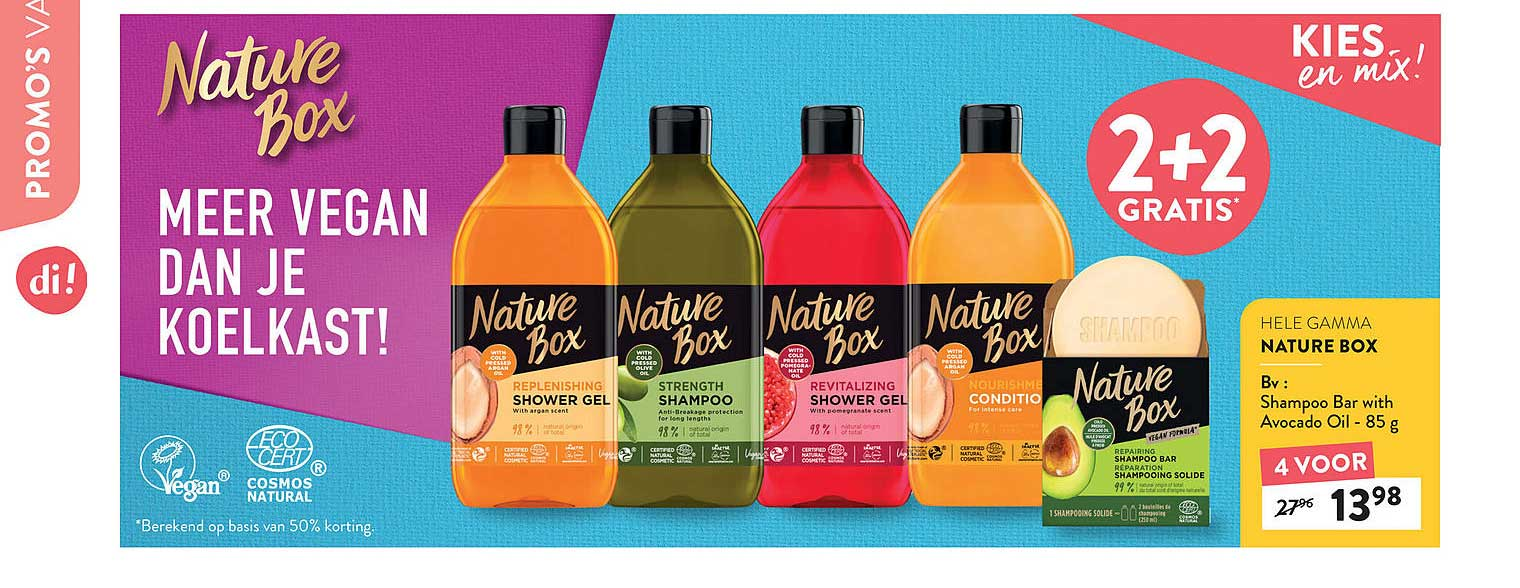 Di 2+2 Gratis Hele Gamma Nature Box Shampoo Bar With Avocado Oil 85 G