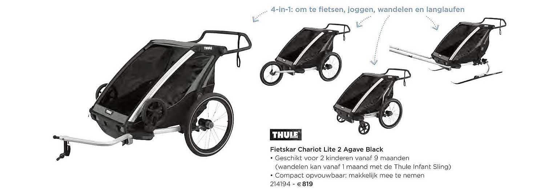 Dreambaby Thule Fietskar Chariot Lite 2 Agave Black