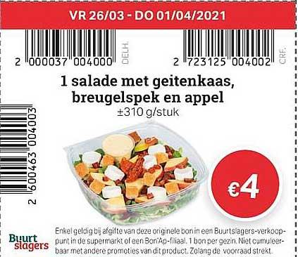 Buurtslagers 1 Salade Met Geitenkaas, Breugelspek En Appel