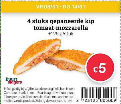Buurtslagers 4 Stuks Gepaneerde Kip Tomaat-mozzarella