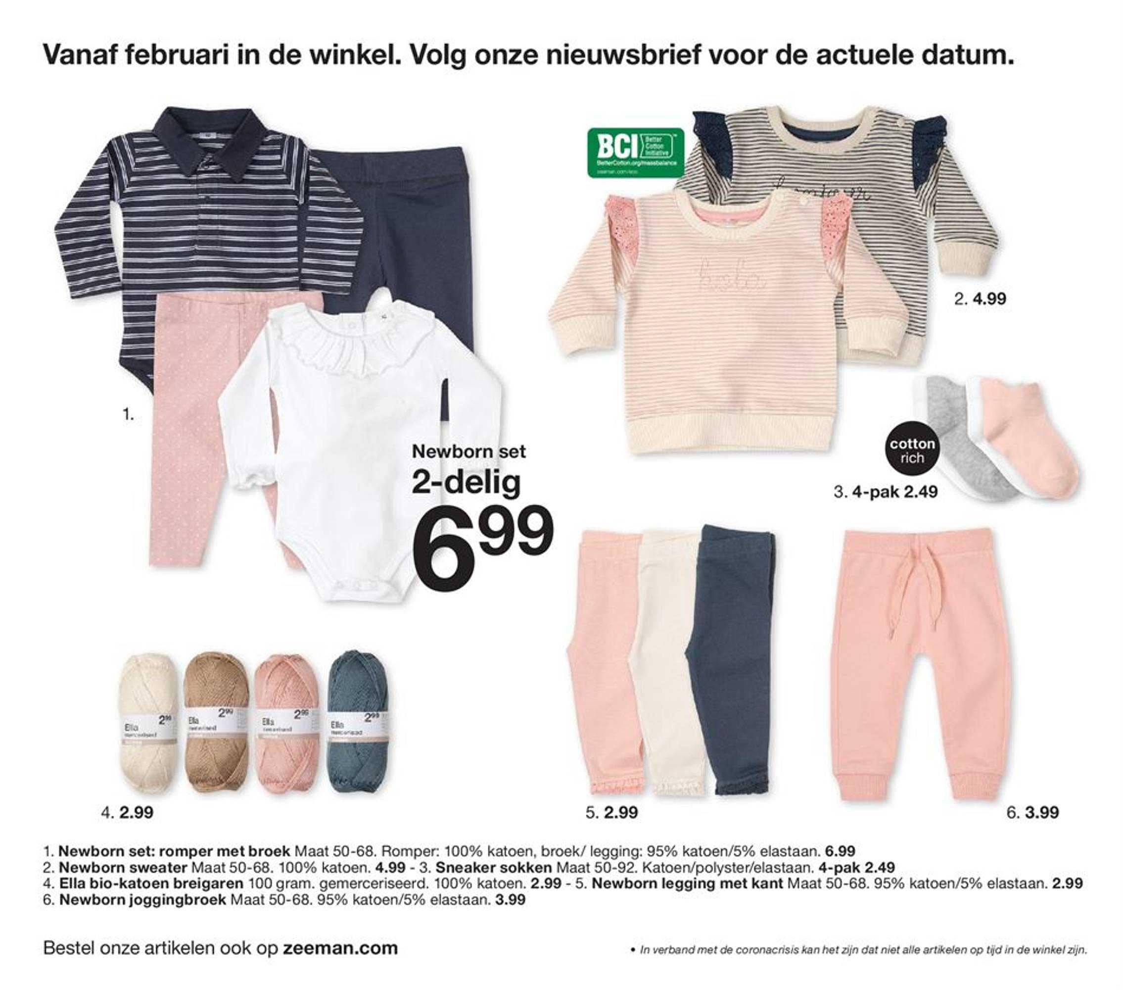 Zeeman Romper Met Broek, Newborn Sweater, Sneaker Sokken, Ella Bio-katoen Breigaren, Newborn Legging Met Kant, Newborn Joggingbroek