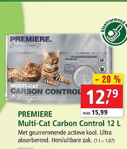 Maxi Zoo Premiere Multi-cat Carbon Control 12 L