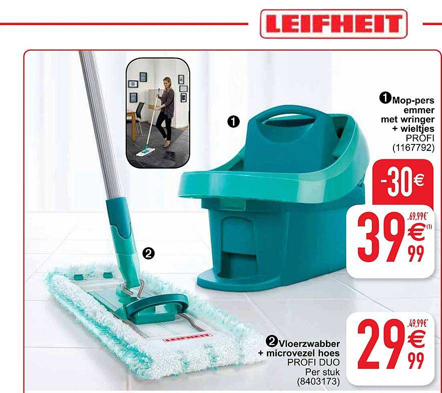 Cora Leifheit Mop-pers Emmer Met Wringer + Wieltjes Profi, Vloerwabber + Microvezel Hoes Profi Duo