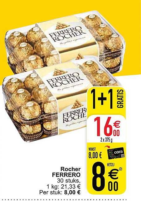 Cora Rocher Ferrero 30 Stuks 1+1 Gratis