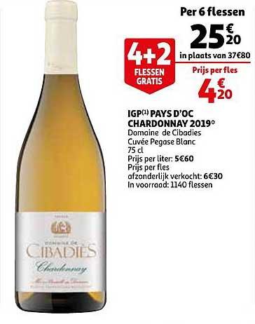 Auchan Igp Pays D'oc Chardonnay 2019 Domaine De Cibadies