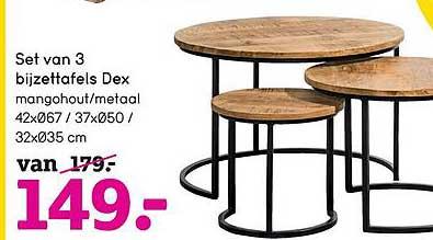 Leen Bakker Set Van 3 Bijzettafels Dex