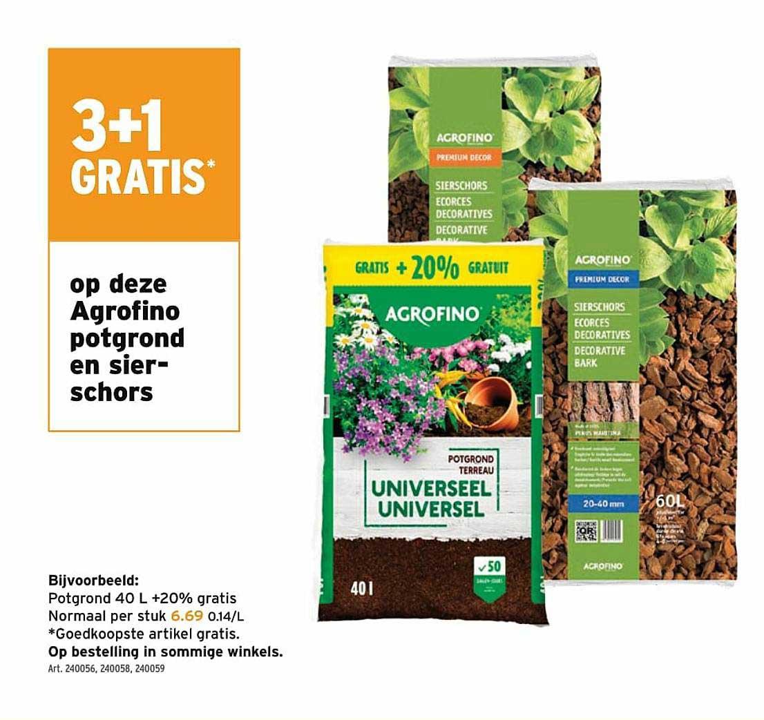 GAMMA 3+1 Gratis Op Deze Agrofino Potgrond En Sierschors