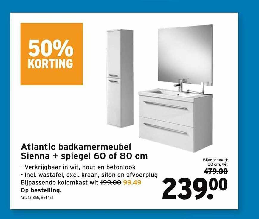 GAMMA Atlantic Badkamermeubel Sienna + Spiegel 60 Of 80 Cm