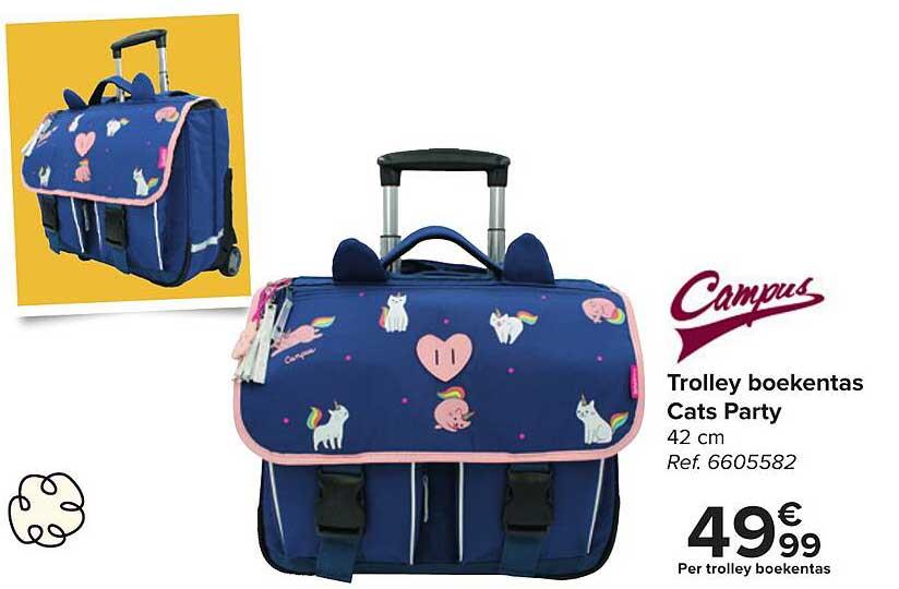 Carrefour Campus Trolley Boekentas Cats Party