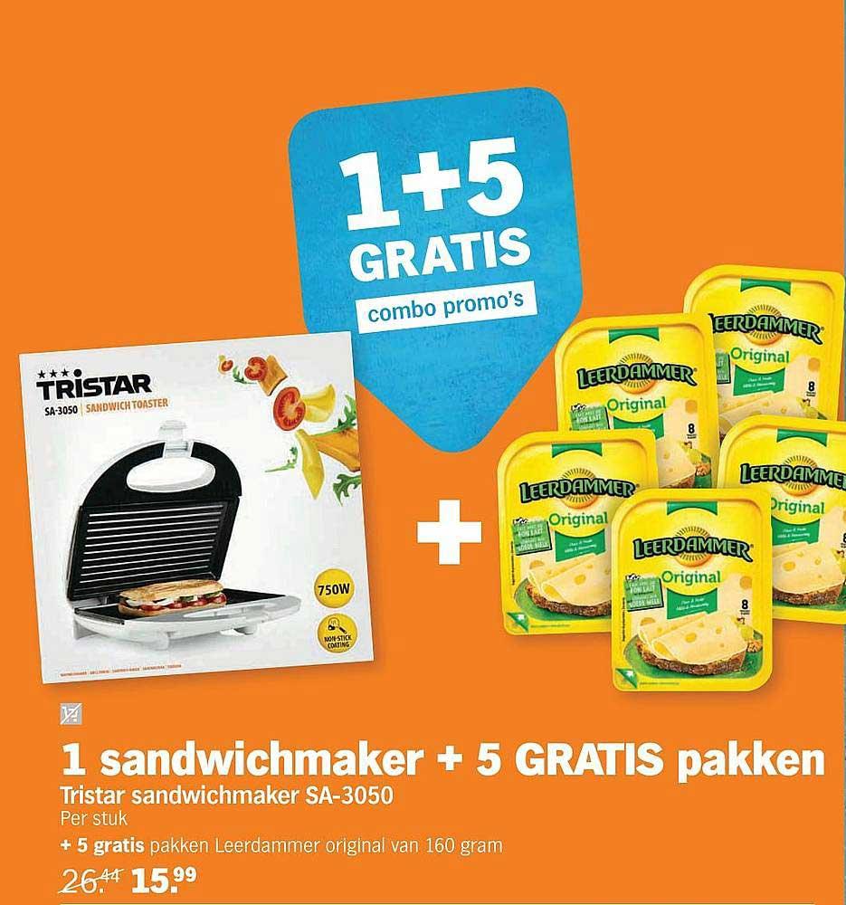 Albert Heijn Tristar Sandwichmaker Sa-3050 + 5 Gratis Leerdammer