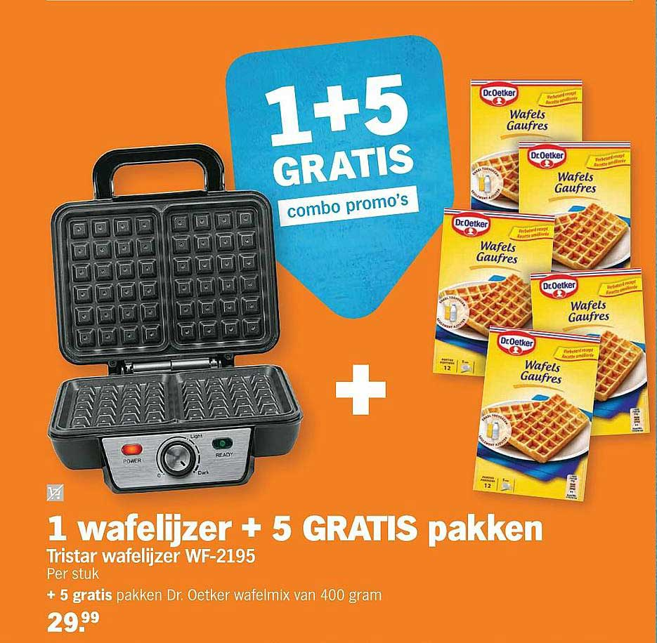 Albert Heijn Tristar Wafelijzer Wf-2195 + 5 Gratis Dr. Oetker Wafelmix