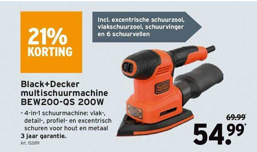 GAMMA Black+decker Multischuurmachine Bew200-qs 200w 21% Korting