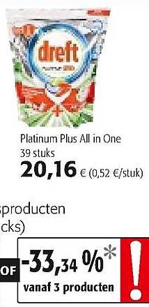 Colruyt Dreft Platinum Plus All In One