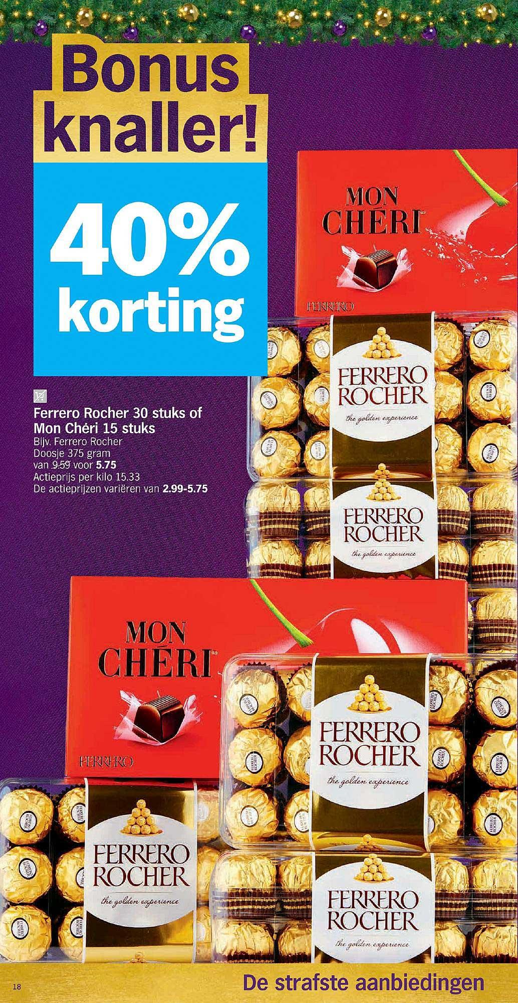 Albert Heijn 40% Korting Ferrero Rocher 30 Stuks Of Mon Cheri