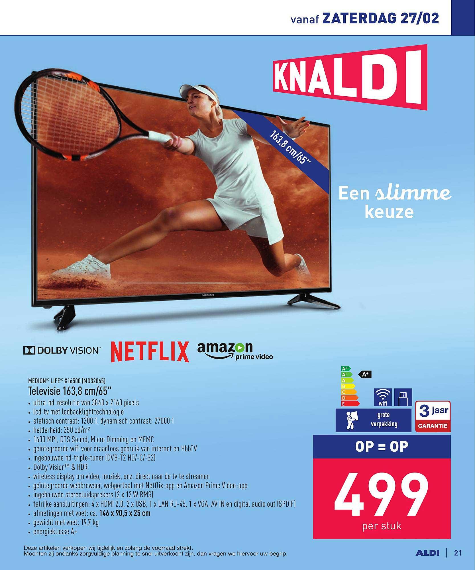 ALDI Medion Life X16500 Televisie 163,8 Cm-65