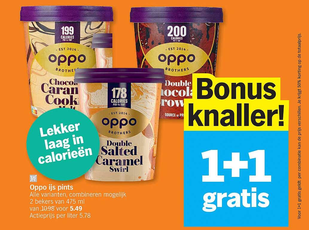 Albert Heijn Oppo Ijs Pints 1+1 Gratis