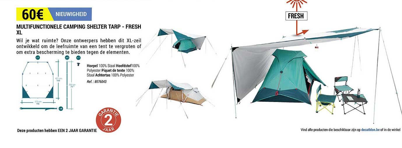 Decathlon Multifunctionele Camping Shelter Tarp -fresh Xl