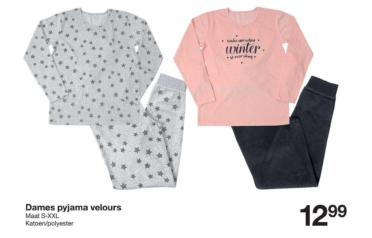 Zeeman Dames Pyjama Velours Maat S-xxl