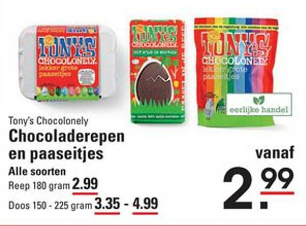 Sligro Tony's Chocolonely Chocoladerepen En Paaseitjes