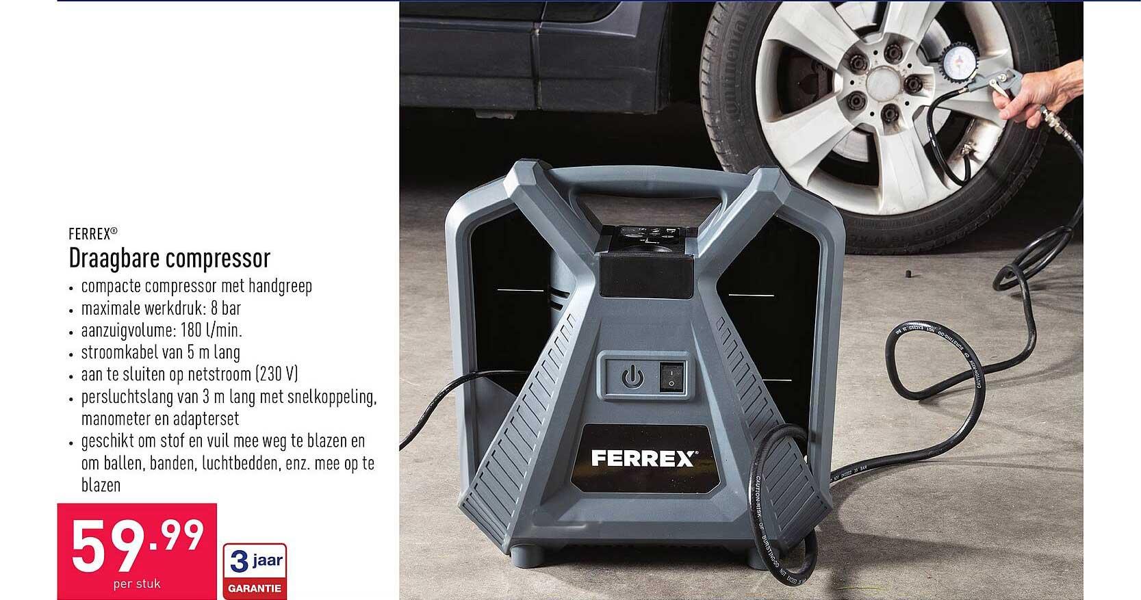 ALDI Ferrex Draagbare Compressor